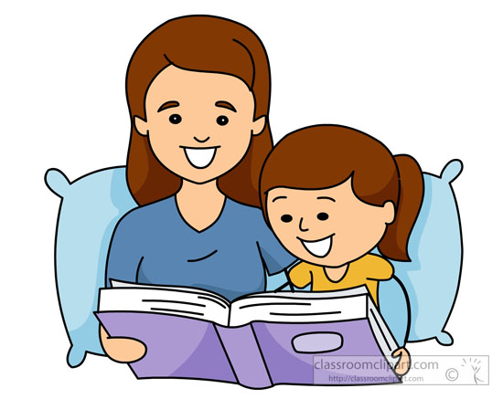 mother reading bedtime stories to child